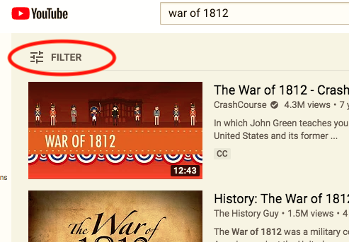Screenshot of YouTube search results with Filter option emphasized